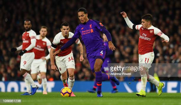 Virgil van Dijk of Liverpool in action during the Premier League match between Arsenal FC and Liverpool FC at Emirates Stadium on November 3 2018 in...