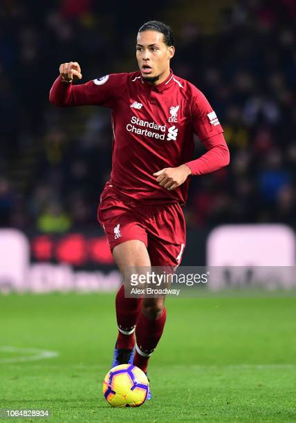 Virgil Van Dijk of Liverpool in action during the Premier League match between Watford FC and Liverpool FC at Vicarage Road on November 24 2018 in...