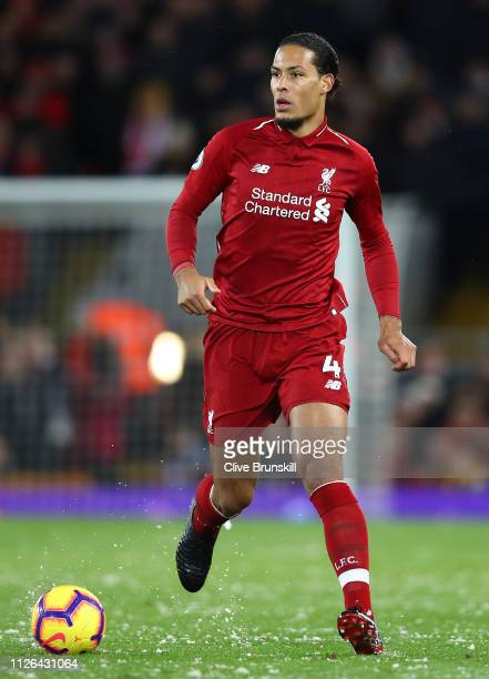 Virgil van Dijk of Liverpool in action during the Premier League match between Liverpool FC and Leicester City at Anfield on January 30 2019 in...