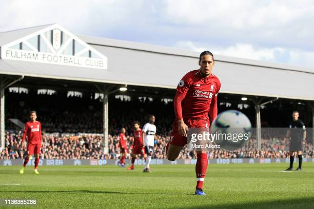 Virgil van Dijk of Liverpool in action during the Premier League match between Fulham FC and Liverpool FC at Craven Cottage on March 17 2019 in...