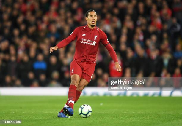 Virgil van Dijk of Liverpool in action during the Premier League match between Liverpool FC and Huddersfield Town at Anfield on April 26 2019 in...