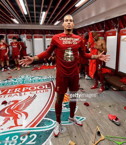 Virgil van Dijk of Liverpool in the dressing room after winning the Premier league at the end of the Premier League match between Liverpool FC and...