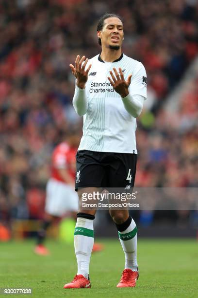 Virgil van Dijk of Liverpool looks dejected during the Premier League match between Manchester United and Liverpool at Old Trafford on March 10 2018...