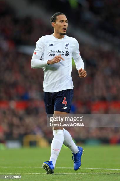 Virgil van Dijk of Liverpool looks on during the Premier League match between Manchester United and Liverpool FC at Old Trafford on October 20 2019...