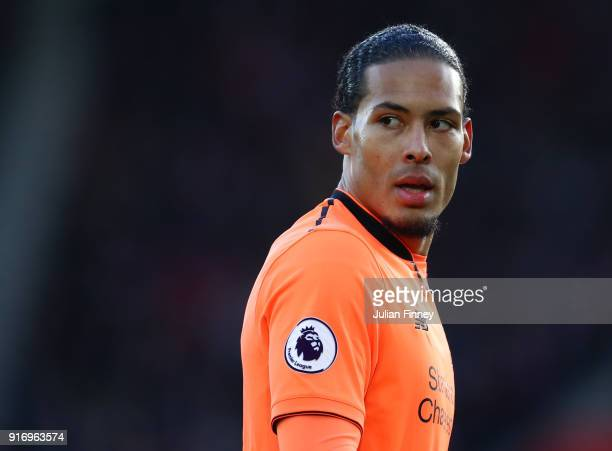 Virgil van Dijk of Liverpool looks on during the Premier League match between Southampton and Liverpool at St Mary's Stadium on February 11 2018 in...