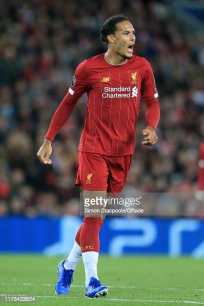 Virgil van Dijk of Liverpool looks on during the UEFA Champions League group E match between Liverpool FC and RB Salzburg at Anfield on October 2...