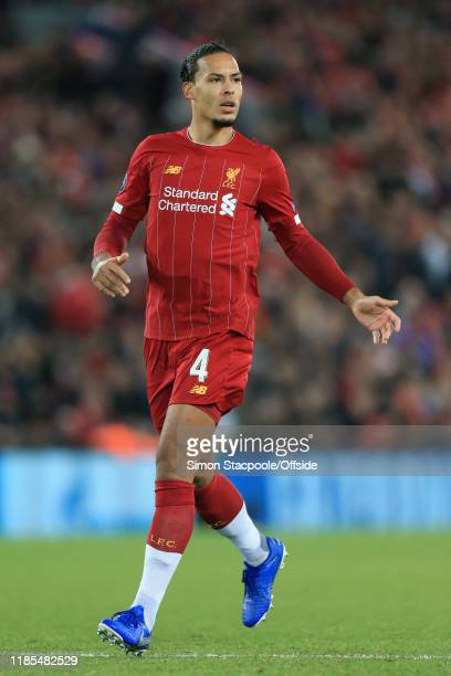 Virgil van Dijk of Liverpool looks on during the UEFA Champions League group E match between Liverpool FC and SSC Napoli at Anfield on November 27...
