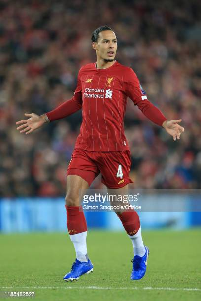 Virgil van Dijk of Liverpool looks onduring the UEFA Champions League group E match between Liverpool FC and SSC Napoli at Anfield on November 27...