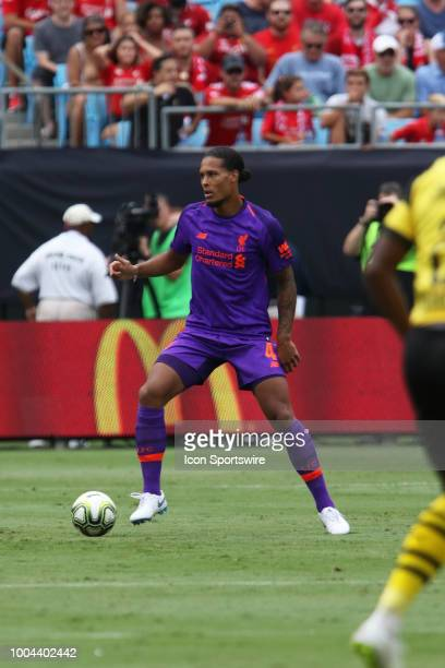 virgil van Dijk of Liverpool looks to pass the ball during the International Champions Cup soccer match between Liverpool FC and Borussia Dortmund in...