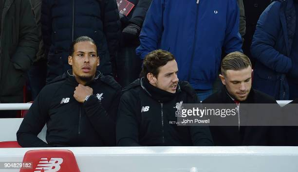 Virgil van Dijk of Liverpool on the bench during the Premier League match between Liverpool and Manchester City at Anfield on January 14 2018 in...