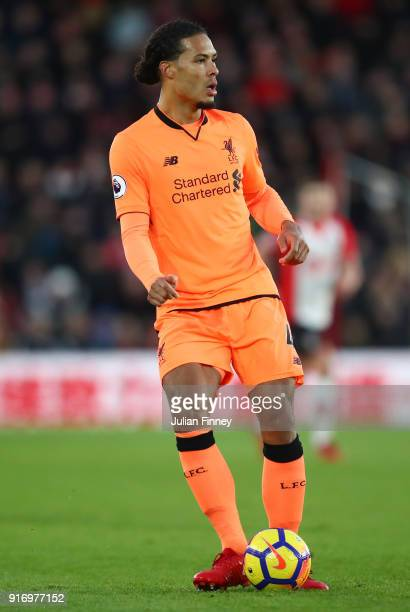 Virgil van Dijk of Liverpool passes the ball during the Premier League match between Southampton and Liverpool at St Mary's Stadium on February 11...