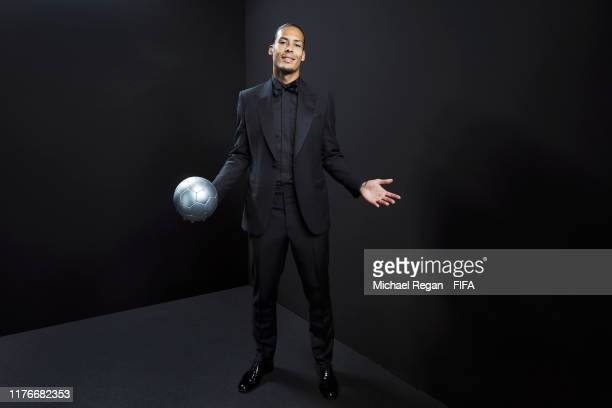 Virgil van Dijk of Liverpool poses for a portrait in the photo booth prior to The Best FIFA Football Awards 2019 at Excelsior Hotel Gallia on...