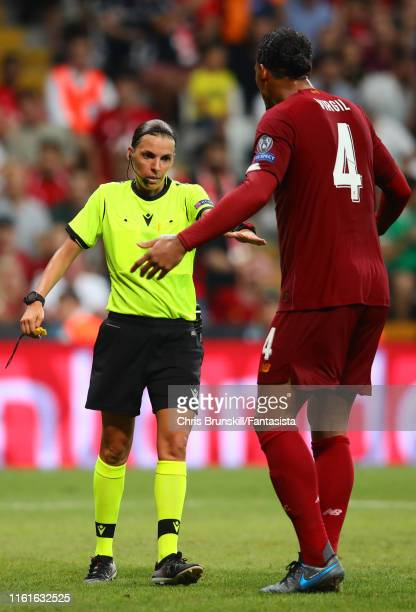 Virgil van Dijk of Liverpool protests to Referee Stephanie Frappart during the UEFA Super Cup match between Liverpool and Chelsea at Vodafone Park on...