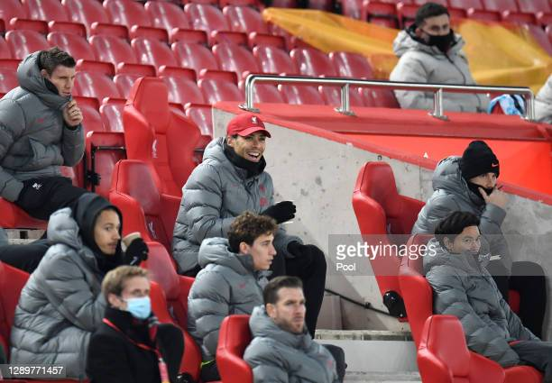 Virgil van Dijk of Liverpool reacts as he sits in the stand during the Premier League match between Liverpool and Wolverhampton Wanderers at Anfield...