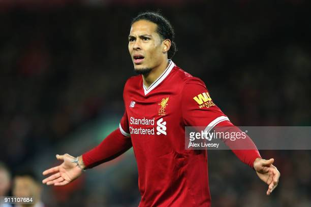 Virgil van Dijk of Liverpool reacts during The Emirates FA Cup Fourth Round match between Liverpool and West Bromwich Albion at Anfield on January 27...