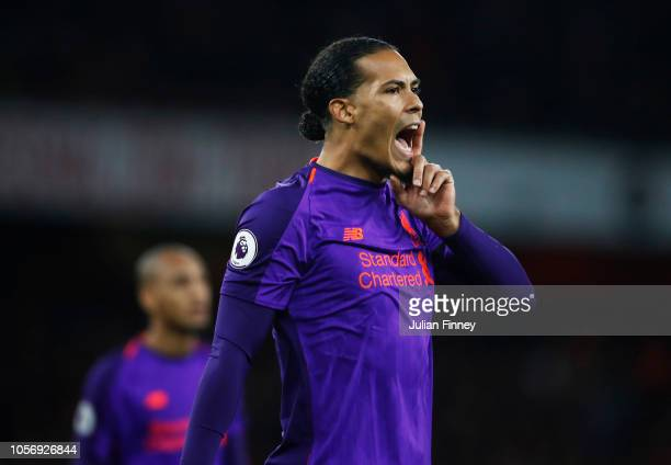 Virgil van Dijk of Liverpool reacts during the Premier League match between Arsenal FC and Liverpool FC at Emirates Stadium on November 3 2018 in...