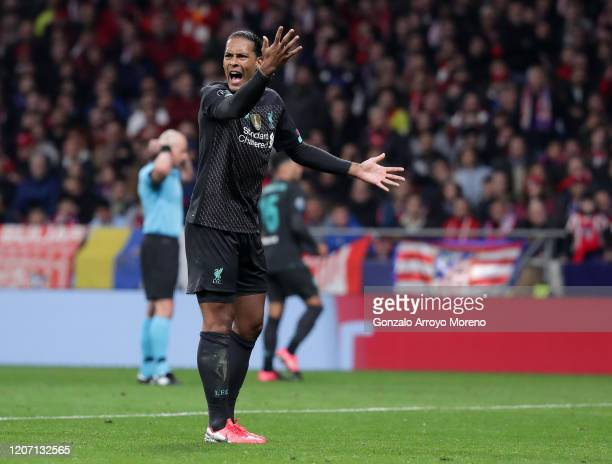 Virgil van Dijk of Liverpool reacts during the UEFA Champions League round of 16 first leg match between Atletico Madrid and Liverpool FC at Wanda...