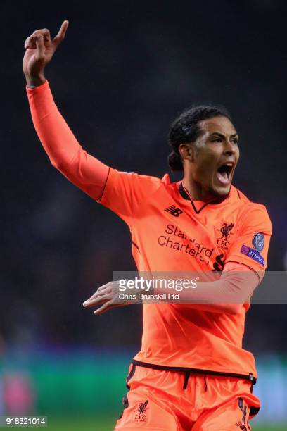 Virgil van Dijk of Liverpool reacts during the UEFA Champions League Round of 16 First Leg match between FC Porto and Liverpool at Estadio do Dragao...