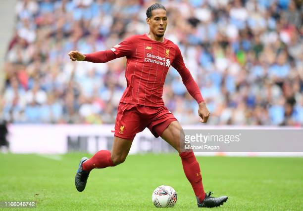 Virgil van Dijk of Liverpool runs with the ball during the FA Community Shield match between Liverpool and Manchester City at Wembley Stadium on...