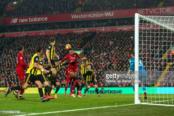 Virgil van Dijk of Liverpool scores a goal to make it 40 during the Premier League match between Liverpool FC and Watford FC at Anfield on February...