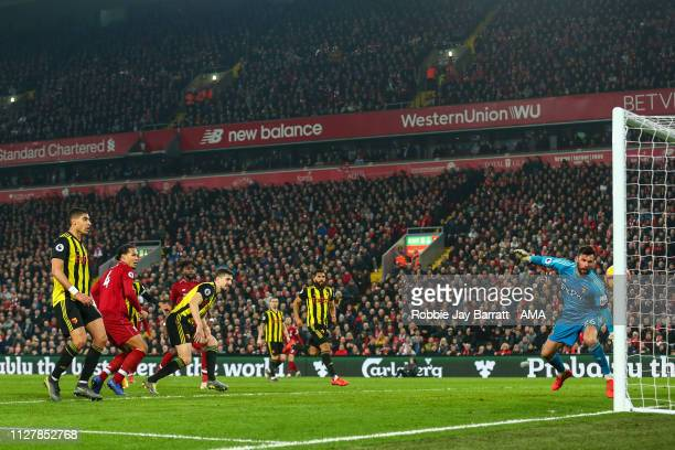 Virgil van Dijk of Liverpool scores a goal to make it 50 during the Premier League match between Liverpool FC and Watford FC at Anfield on February...