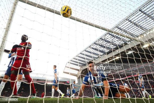 Virgil van Dijk of Liverpool scores goal during the Premier League match between Liverpool FC and Brighton Hove Albion at Anfield on November 30 2019...