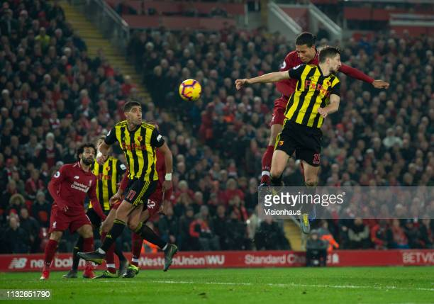Virgil van Dijk of Liverpool scores his second goal during the Premier League match between Liverpool FC and Watford FC at Anfield on February 27...