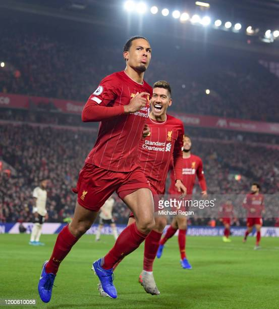 Virgil van Dijk of Liverpool scores to make it 10 during the Premier League match between Liverpool FC and Manchester United at Anfield on January 19...