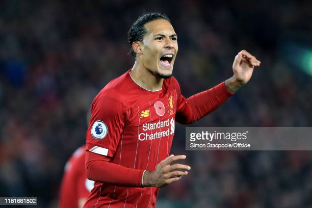 Virgil van Dijk of Liverpool shouts during the Premier League match between Liverpool FC and Manchester City at Anfield on November 10 2019 in...