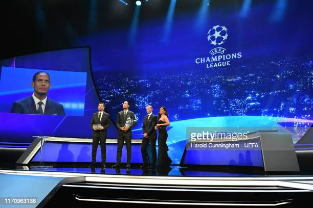 Virgil van Dijk of Liverpool speaks on stage after being presented with the UEFA Men's Player of the Year 2018/19 Award by UEFA President Aleksander...