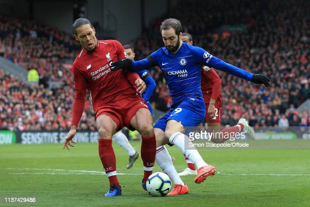 Virgil van Dijk of Liverpool tackles Gonzalo Higuain of Chelsea during the Premier League match between Liverpool and Chelsea at Anfield on April 14...
