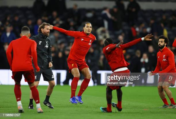 Virgil van Dijk of Liverpool warms up prior to the Premier League match between Tottenham Hotspur and Liverpool FC at Tottenham Hotspur Stadium on...