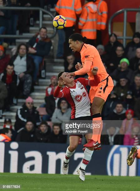 Virgil Van Dijk of Liverpool with Guido Carrillo of SOuthampton during the Premier League match between Southampton and Liverpool at St Mary's...
