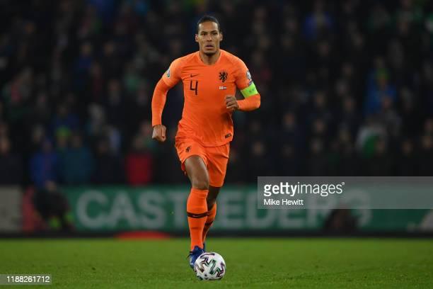 Virgil van Dijk of Netherlands in action during the UEFA Euro 2020 qualifier between Northern Ireland and The Netherlands at Windsor Park on November...