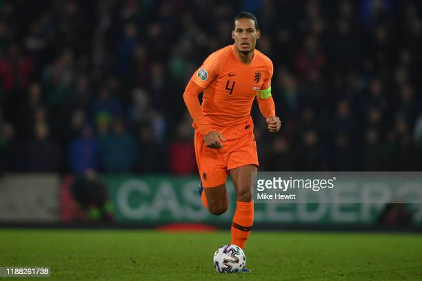 Virgil van Dijk of Netherlands in action during the UEFA Euro 2020 qualifier between Northern Ireland and The Netherlands at Windsor Park on November...