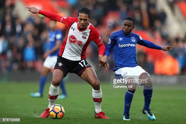 Virgil van Dijk of Southampton and Ademola Lookman of Everton during the Premier League match between Southampton and Everton at St Mary's Stadium on...