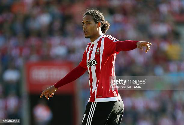 Virgil van Dijk of Southampton during the Barclays Premier League match at St Mary's stadium between Southampton and Manchester United on September...