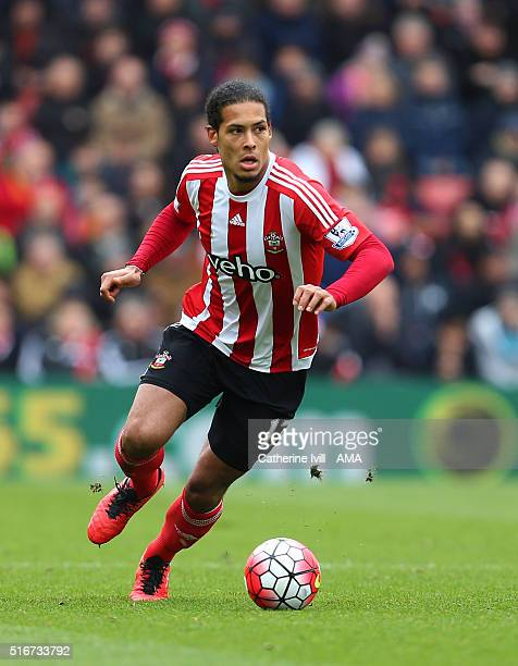 Virgil van Dijk of Southampton during the Barclays Premier League match between Southampton and Liverpool on March 20 2016 in Southampton United...