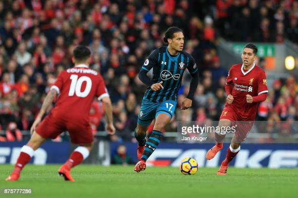 Virgil van Dijk of Southampton in action during the Premier League match between Liverpool and Southampton at Anfield on November 18 2017 in...