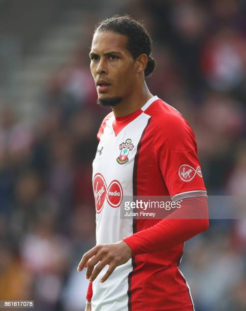Virgil van Dijk of Southampton looks on during the Premier League match between Southampton and Newcastle United at St Mary's Stadium on October 15,...