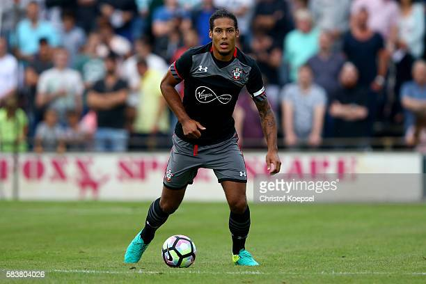 Virgil van Dijk of Southampton runs with the ball during the friendly match between Twente Enschede and FC Southampton at Q20 Stadium on July 27 2016...