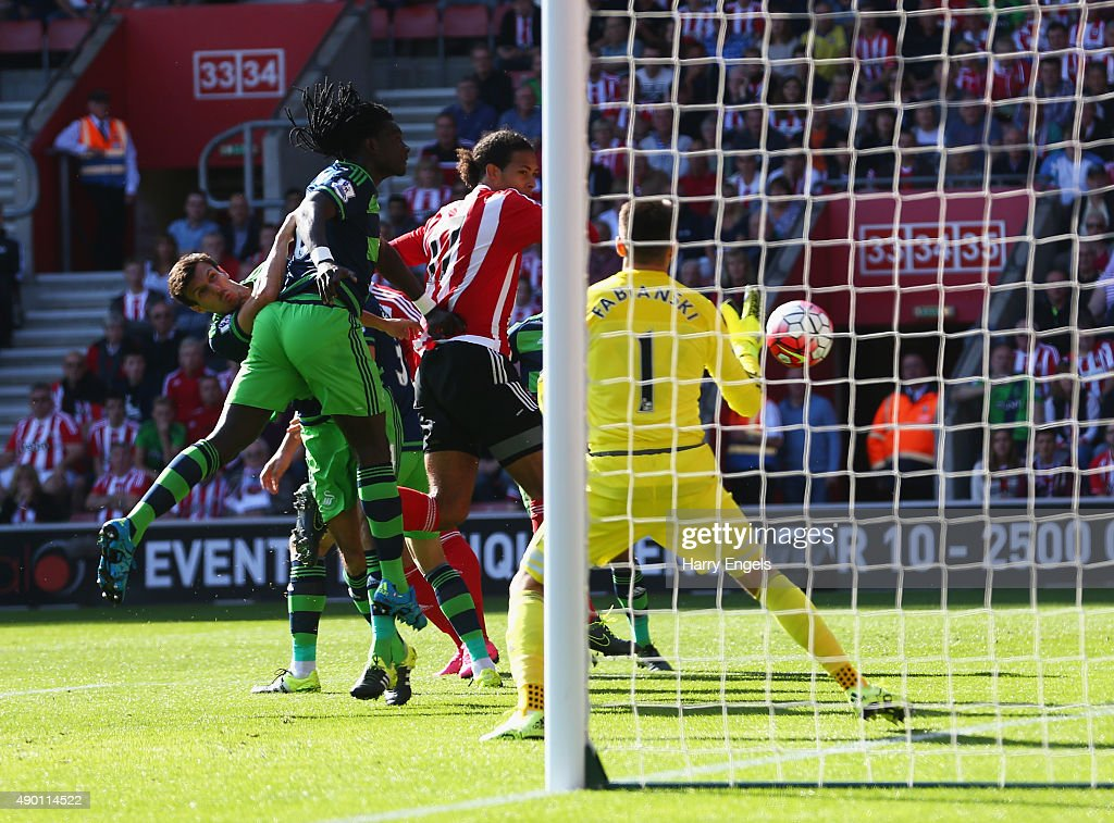 Virgil van Dijk of Southampton scores his team's first goal during the Barclays Premier League match between Southampton and Swansea City at St Mary's Stadium on September 26, 2015 in Southampton, United Kingdom.