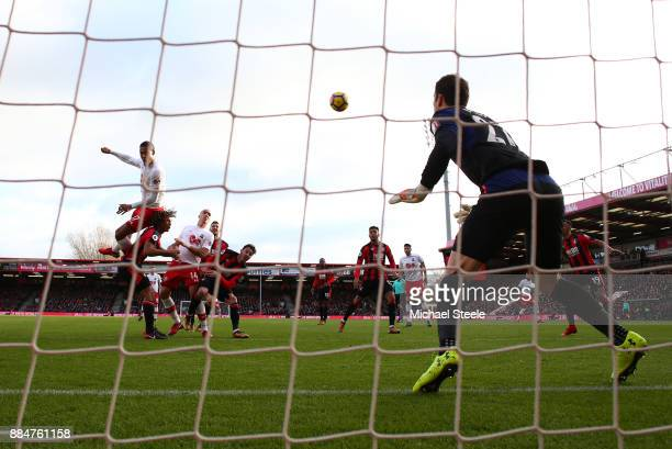 Virgil van Dijk of Southampton wins a header during the Premier League match between AFC Bournemouth and Southampton at Vitality Stadium on December...