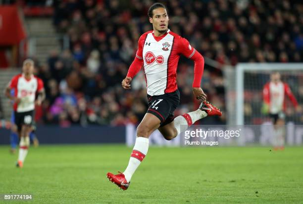 Virgil Van Dijk of Soutthampton during the Premier League match between Southampton and Leicester City at St Mary's Stadium on December 13th 2017 in...