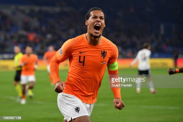 Virgil van Dijk of the Netherlands celebrates after scoring his team's second goal during the UEFA Nations League A group one match between Germany...