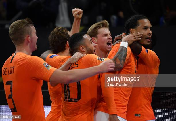 Virgil van Dijk of The Netherlands celebrates scoring his team's second goal during the UEFA Nations League A group one match between Germany and...