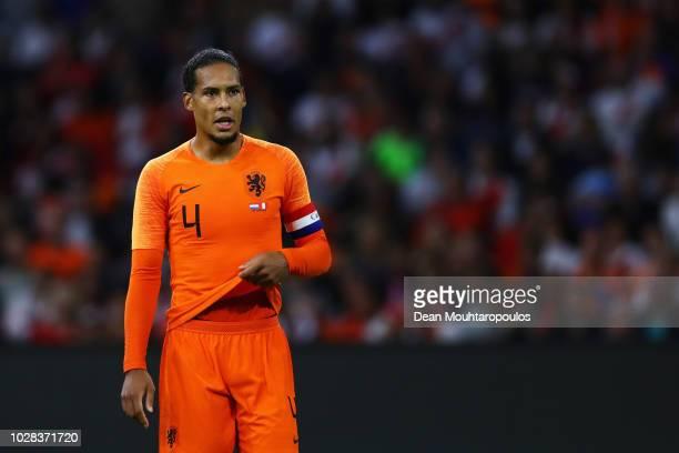 Virgil Van Dijk of the Netherlands in action during the International Friendly match between Netherlands and Peru at Johan Cruyff Arena on September...