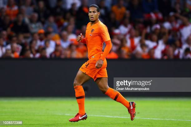 Virgil Van Dijk of the Netherlands in action during the International Friendly match between Netherlands and Peru at Johan Cruyff Arena on September...