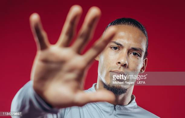 Virgil Van Dijk poses at Melwood Training Ground on March 06 2019 in Liverpool England