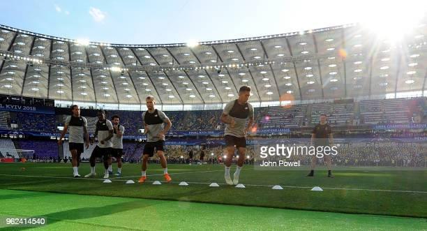 Virgil van Dijk Rafael Camacho Rangar Klavan and Roberto Firmino of Liverpool during training session before the UEFA Champions League final between...